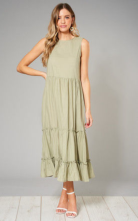 KRISTINA Tiered Crinkle Smock Dress in Green by Blue Vanilla