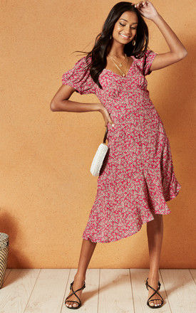 LAKE COMO MIDI DRESS IN RED DITSY PRINT by Band Of Gypsies