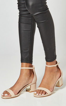 Nude PU Block Heel Sandals With Ankle Strap by Truffle Collection