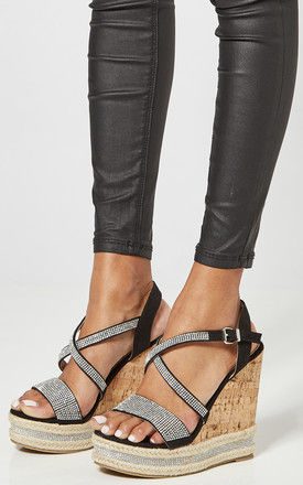 Black Platform Wedges With Diamante Strap by Truffle Collection