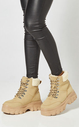 Sand Chunky Lace Up Boots With Teddy Lining by Truffle Collection
