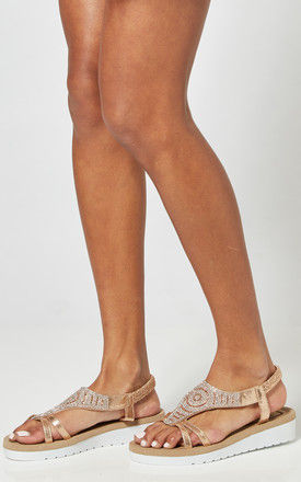 Rose Gold Platform Sandals With Diamante Detail by Truffle Collection