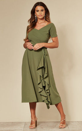Exclusive Bardot Frill Midi Dress in Sage Green by Feverfish