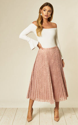 Nude Lace Pleated Midi Skirt by Edie b.
