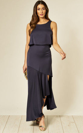 Navy Satin Maxi Dress with Crop Overlay by Edie b.