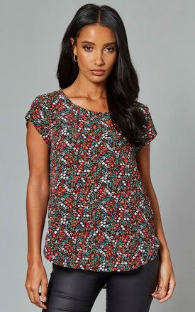 Round Neck Short Sleeve Top in Multi Floral by ONLY
