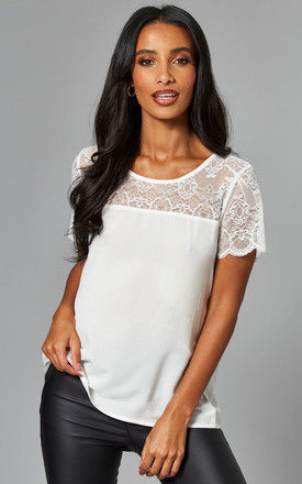 Lace Detail Short Sleeve Top in White by VILA