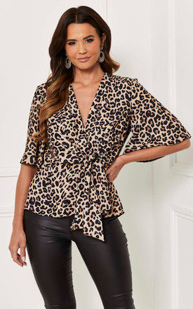Kimono Knot Top in Leopard by Bella and Blue