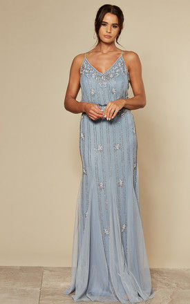 Keeva Maxi Bridesmaids Wedding Dress (Light Blue with Gold Beading) by Lace & Beads