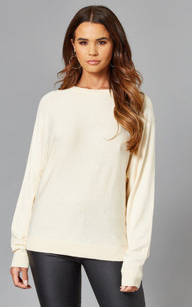 Batwing Knitted Top in Cream by Noisy May