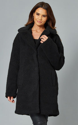 Teddy Coat with High Collar in Black by VILA