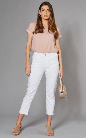 High Waist Straight Leg Cropped Jeans in White by ONLY