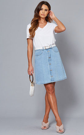 A Line Denim Skirt in Light Blue by ONLY