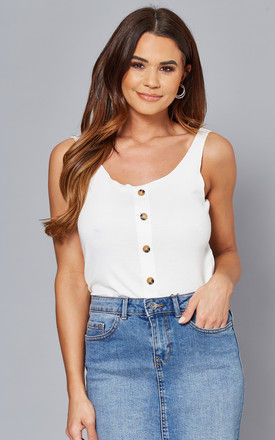 Vest Top with button front in White by ONLY