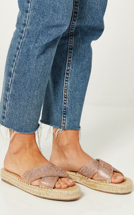 Rose Gold Flatform Slip On Sandals With Diamante Straps by Truffle Collection