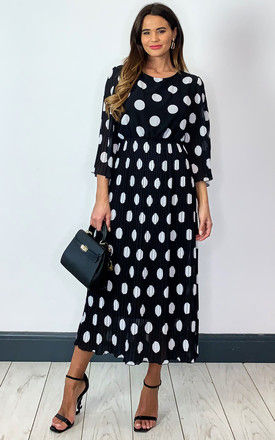 Pleated Midi Dress in Black and White Polka Dot by Bella and Blue