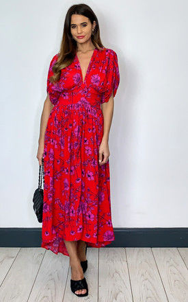 Antibes Deep V Neck Midi Dress in red Floral by Band Of Gypsies