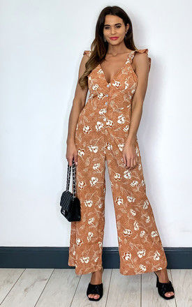 Jumpsuit With Frill Straps in Tan Floral by Brave Soul London