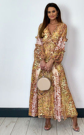 Maxi Dress with Long Sleeves in Mixed Floral / Leopard PRINT by Bardot