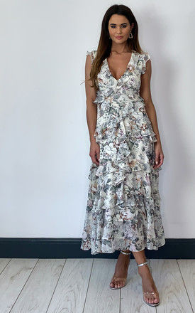 NELLY FRILL MIDI DRESS IN WHITE FLORAL by Bardot