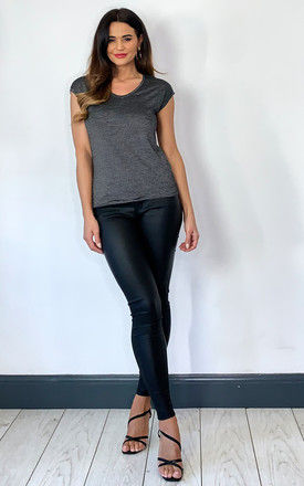 Tee With Round Neck In Black Stripe by ONLY