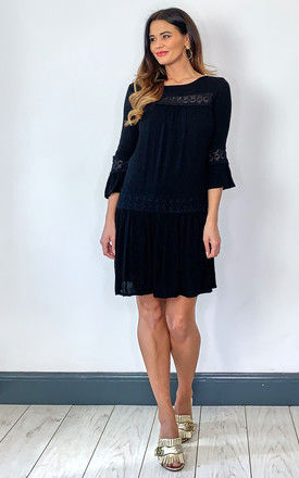 Three quarter sleeve dress with lace detail in Black by ONLY
