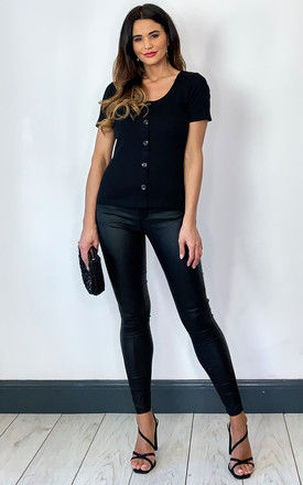 Short Sleeve Ribbed Button Top in Black by VM
