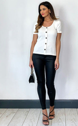 Short Sleeve Ribbed Button Top in White by VM