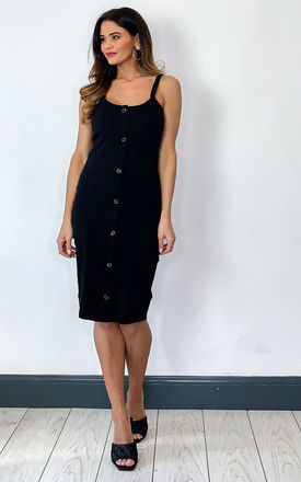 Sleeveless Midi Dress with button front in Black by VM