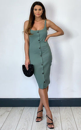 Sleeveless Dress with button front in khaki by VM