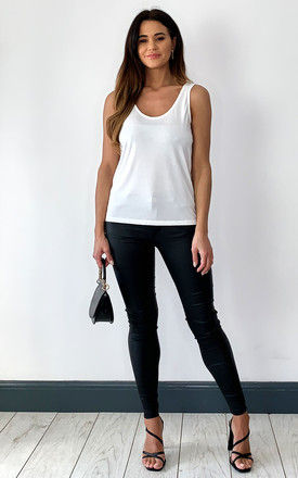 Scoop Neck Tank Top in White by Pieces
