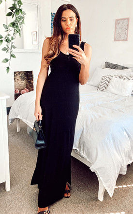 Sleeveless Maxi Dress with button front in Black by VILA