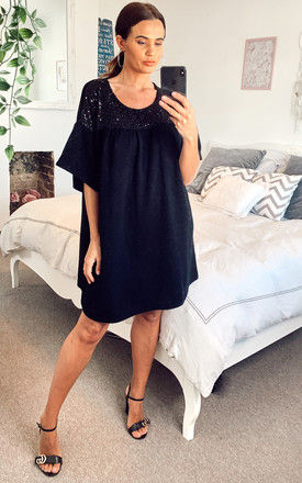 Tunic Dress with Sequin Detail in Black by Bella and Blue