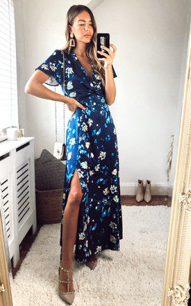 Twist Front Maxi Dress in Navy Floral Print by Edie b.