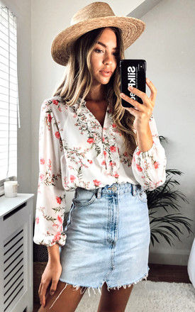 Warwick White Sheer Floral long sleeve v neck top with white slip by Style Cheat