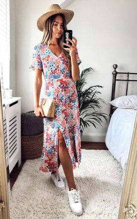 Winnie Ditsy Floral V neck midi dress in white, red and blue by Style Cheat