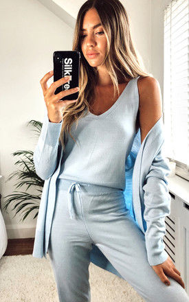 Knitted 3-Piece Loungewear Set Blue by URBAN TOUCH