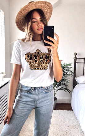 White T-shirt with Leopard print Crown Motif by Fearless Alice Custom