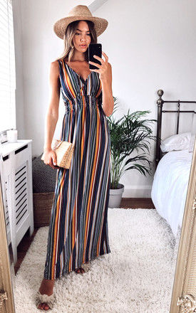 Stripe Maxi Dress with Elasticated Waist in Multi by KURT MULLER