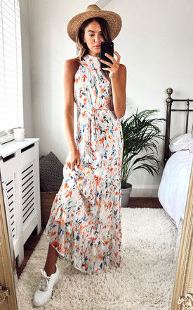 Willow High neck maxi dress with frill hem and tie waist in white multi floral by Style Cheat