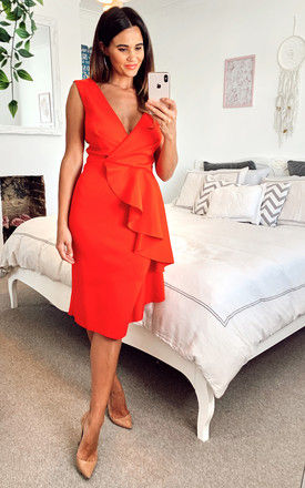 Red Scuba Midi Dress with Pencil Skirt and Ruffle Detail by Edie b.