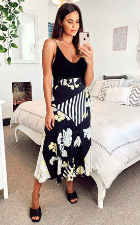 Belted Midi Skirt in navy floral and stripe mixed print by Edie b.