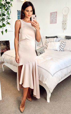 Satin Maxi Asymmetric Dress with Crop Overlay in Nude by Edie b.