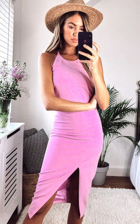 VERA MIDI DRESS WITH OPEN BACK IN PINK by Bardot