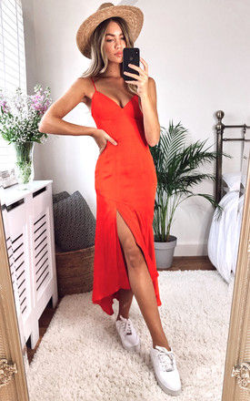 DEANNA STRAPPY MIDI DRESS in RED by Bardot