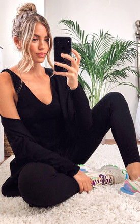 Knitted 3 Piece Loungewear Set Black by URBAN TOUCH