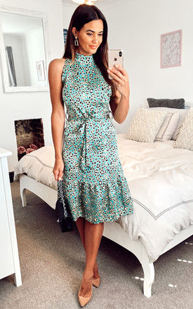 Satin Mint Green and Yellow Leopard Print high-neck midi dress with frill detail and belt by D.Anna