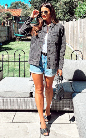 Denim Jacket with longer length in Washed Black by Noisy May