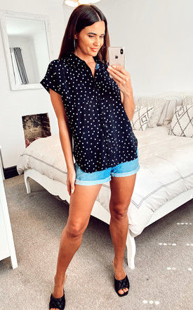 Black Blouse with Polka Dots by Voodoo Vixen