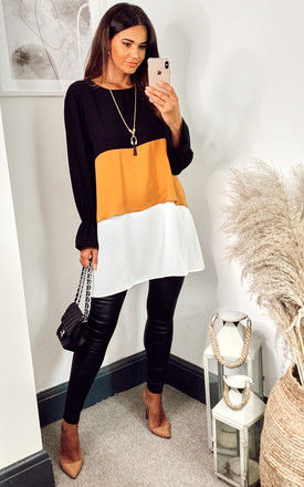 Oversized Colour Block Top in Black, Yellow and White with Necklace by HOXTON GAL